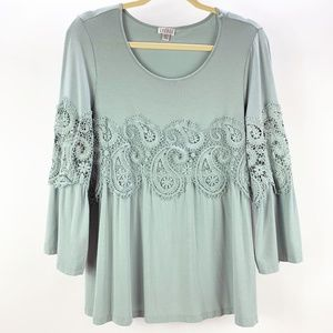 Spense Boho Bell Sleeve Lace Detail Top Size L